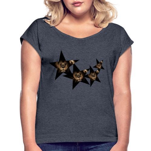 leon estrellas camiseta - Camiseta con manga enrollada mujer