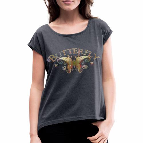 Butterfly Logo Color - Vrouwen T-shirt met opgerolde mouwen