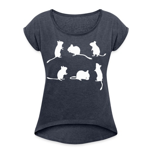 Schattenriss 6 Degus - Frauen T-Shirt mit gerollten Ärmeln