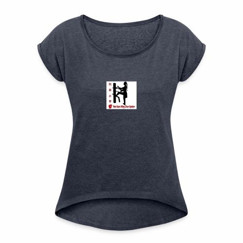 Kungfu Logo - Frauen T-Shirt mit gerollten Ärmeln