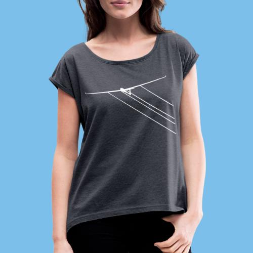 Wasser Segelflugzeug Segelflieger Geschenkidee - Frauen T-Shirt mit gerollten Ärmeln