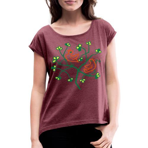 Uccelli sul ramo - Maglietta da donna con risvolti