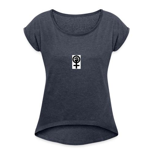 Feminism - T-shirt med upprullade ärmar dam