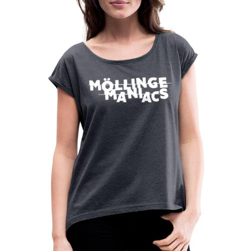 Möllinge Maniacs Vit logga - T-shirt med upprullade ärmar dam
