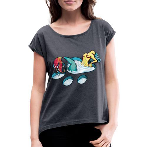 Sirène féline coquine - T-shirt à manches retroussées Femme