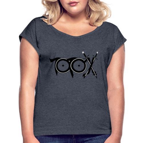 TotoX Logo sw - Frauen T-Shirt mit gerollten Ärmeln