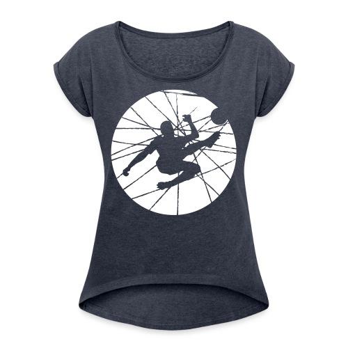 Football v2 - Frauen T-Shirt mit gerollten Ärmeln