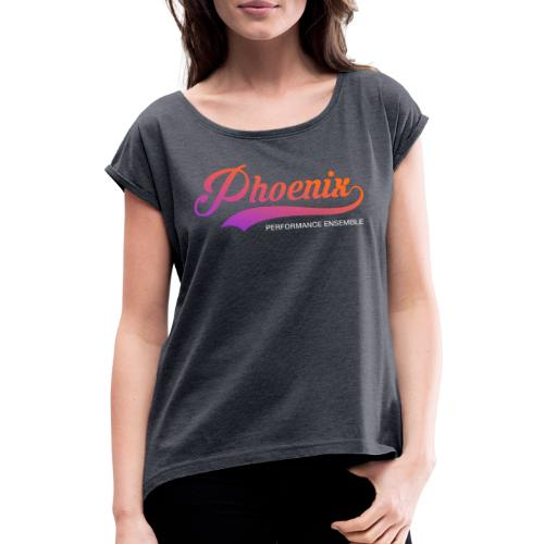 Phoenix Retro Color - Frauen T-Shirt mit gerollten Ärmeln