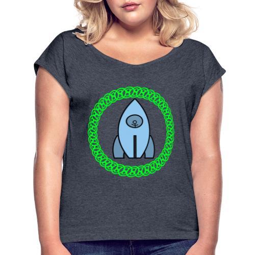 Raumschiff auf dem Weg ins Weltall - Frauen T-Shirt mit gerollten Ärmeln