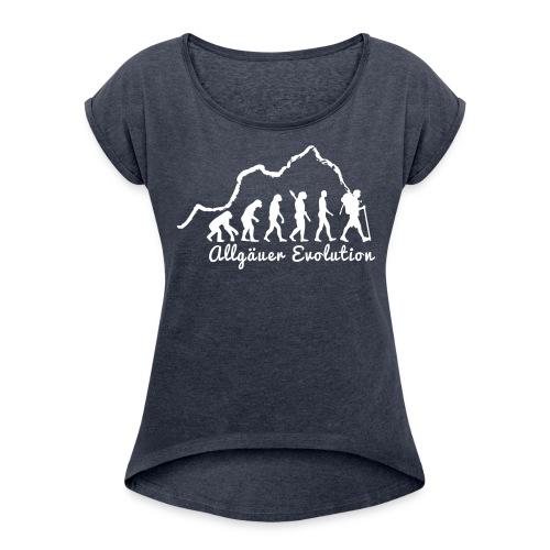 allgaeuer-evolution-fin2 - Frauen T-Shirt mit gerollten Ärmeln