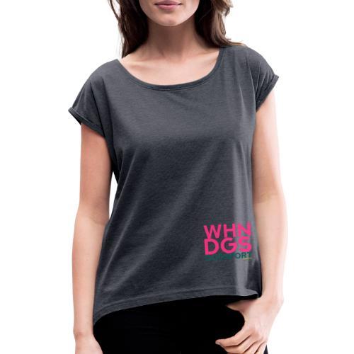 WHNDGS Hundesport Agility Geschenkidee Markenshirt - Frauen T-Shirt mit gerollten Ärmeln
