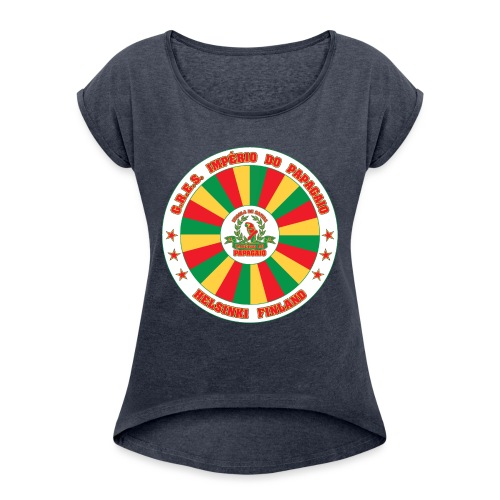 Papagaio drum logo - Naisten T-paita, jossa rullatut hihat