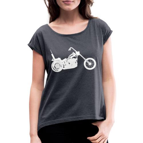 Chopper - hvid - Dame T-shirt med rulleærmer