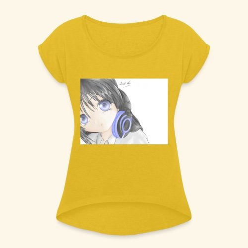Anime Girl with Headphones - Women's T-Shirt with rolled up sleeves
