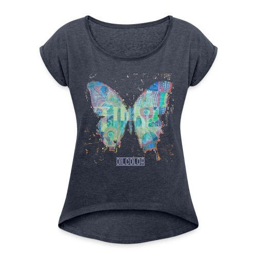 wounded butterfly - Women's T-Shirt with rolled up sleeves
