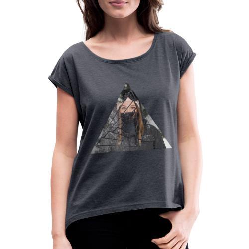 Snow Girl Triangle Graphic Design - Frauen T-Shirt mit gerollten Ärmeln
