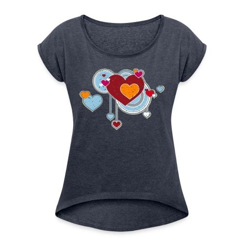 Liebe love Herzen hearts retro grunge Valentinstag - Women's T-Shirt with rolled up sleeves