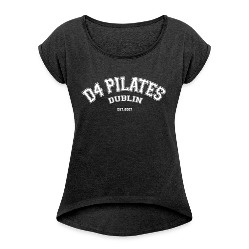 D4 Pilates - College style (white) - Women's T-Shirt with rolled up sleeves