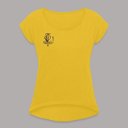 Zirkel, schwarz (vorne) - Frauen T-Shirt mit gerollten Ärmeln
