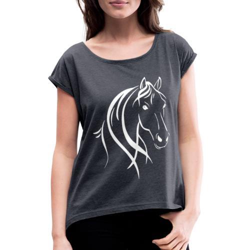 Pferdekopf - Frauen T-Shirt mit gerollten Ärmeln