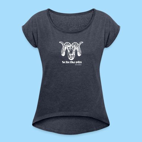 Schofkopfn - Frauen T-Shirt mit gerollten Ärmeln