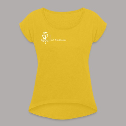Zirkel mit Name, weiss (vorne) - Frauen T-Shirt mit gerollten Ärmeln