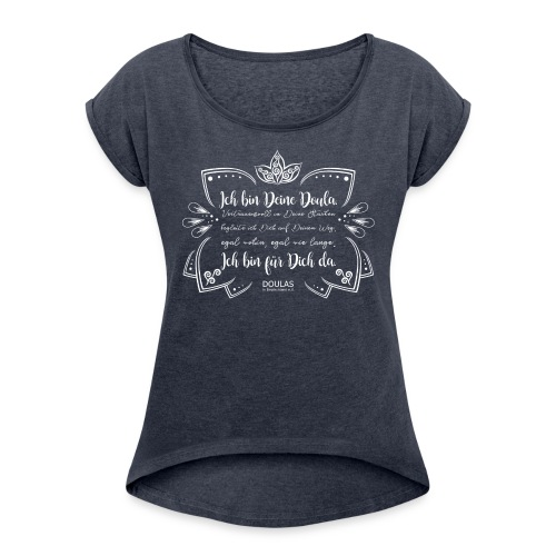 DiD Design weiß - Frauen T-Shirt mit gerollten Ärmeln
