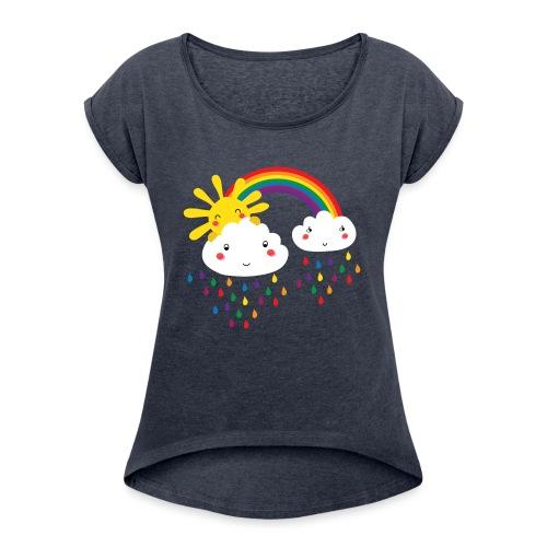 Regenbogen bunte Tropfen - Frauen T-Shirt mit gerollten Ärmeln