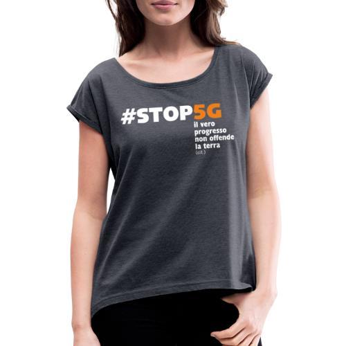 Linea Stop5G con frase - Maglietta da donna con risvolti