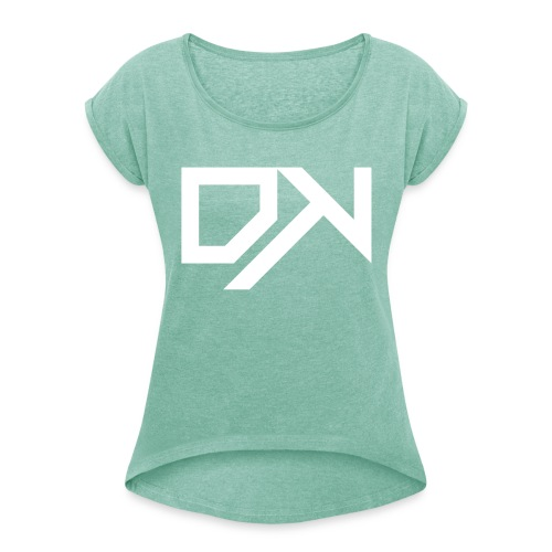 DewKee Logo Cap White - Women's T-Shirt with rolled up sleeves