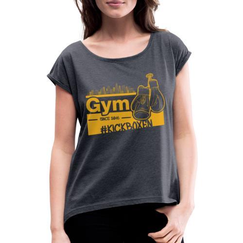 Gym Druckfarbe Orange - Frauen T-Shirt mit gerollten Ärmeln