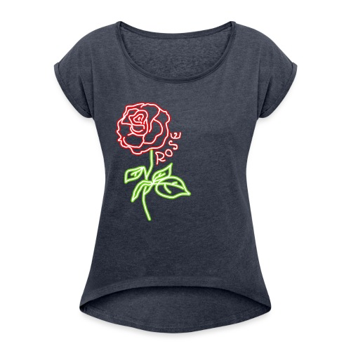 Rosa NEON - Women's T-Shirt with rolled up sleeves