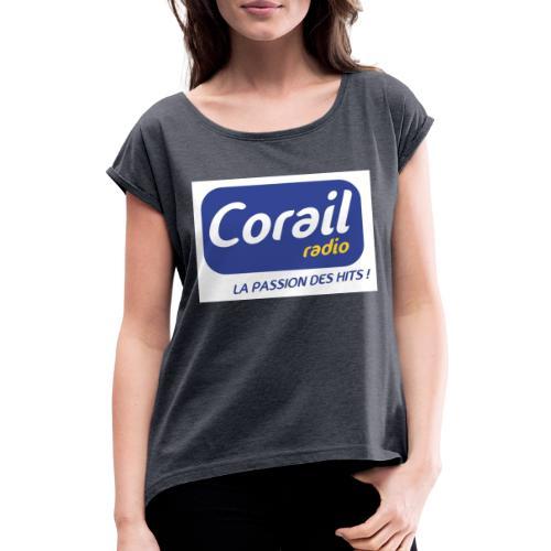 Logo bleu - T-shirt à manches retroussées Femme