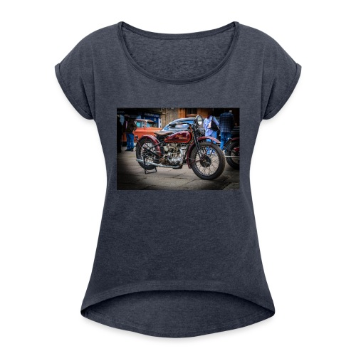 the motorbike davidon style - Women's T-Shirt with rolled up sleeves