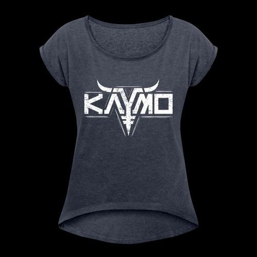 LOGO ALONE GRUNGE FOR DIGITAL PRINT ONLY WHITE - T-skjorte med rulleermer for kvinner