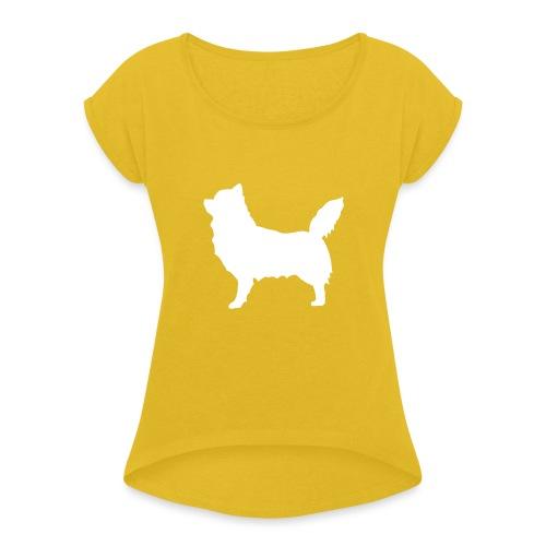 Chihuahua pitkakarva valkoinen - Naisten T-paita, jossa rullatut hihat