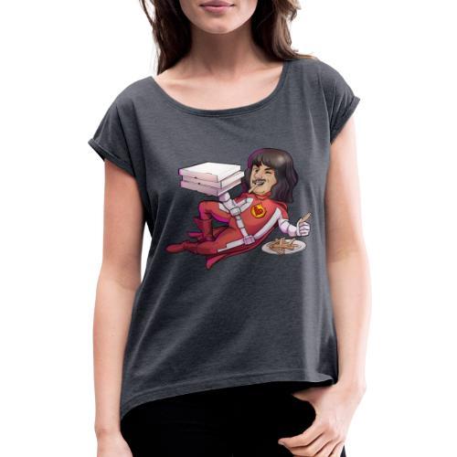 Essen | Liebesheld - Frauen T-Shirt mit gerollten Ärmeln