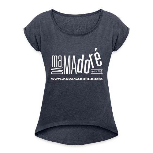 T-Shirt - Donna - Logo Bianco + Sito - Maglietta da donna con risvolti