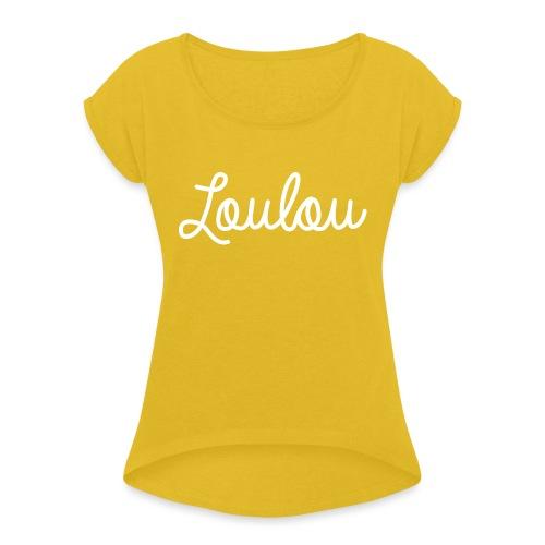 Logo-Wit - Vrouwen T-shirt met opgerolde mouwen