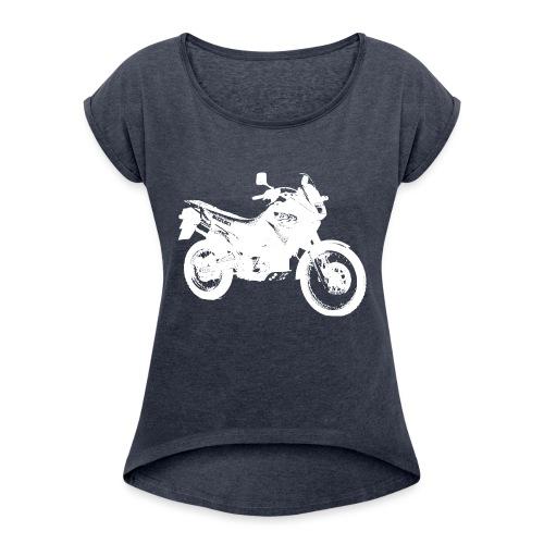 DR650RSE white - Frauen T-Shirt mit gerollten Ärmeln