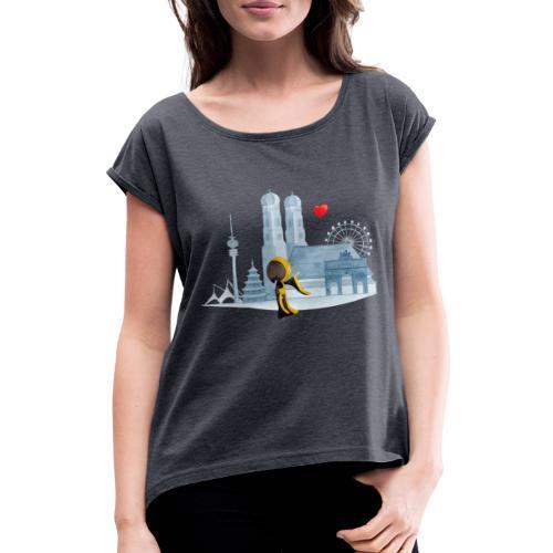 Skyline München mit Münchner Kindl und Herz - Frauen T-Shirt mit gerollten Ärmeln