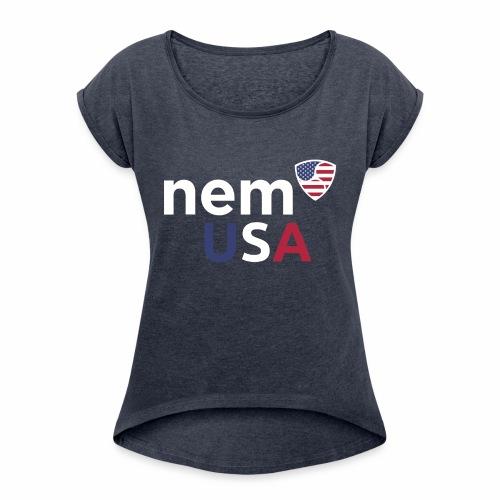 NEM USA white - Maglietta da donna con risvolti