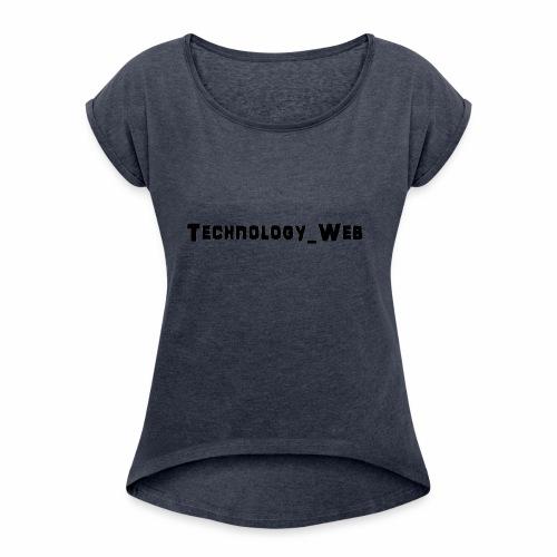 technology_web - Koszulka damska z lekko podwiniętymi rękawami
