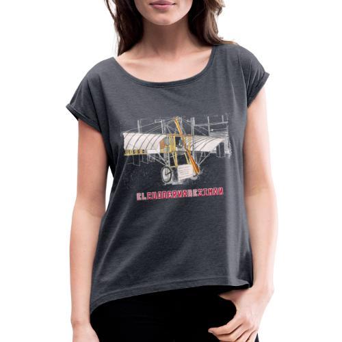 Aviones plateados - Camiseta con manga enrollada mujer