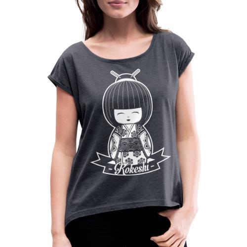 kokeshi - Maglietta da donna con risvolti