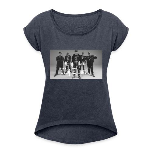 aaa - Koszulka damska z lekko podwiniętymi rękawami