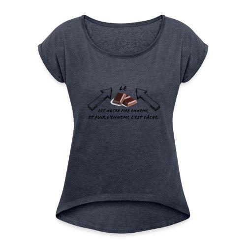 chocolat - T-shirt à manches retroussées Femme