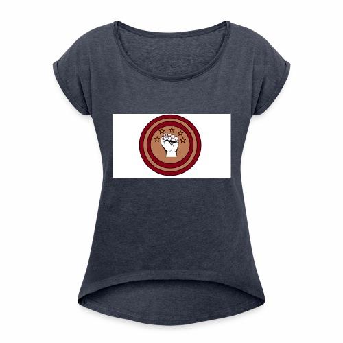 Bouclier et poing gamer - T-shirt à manches retroussées Femme