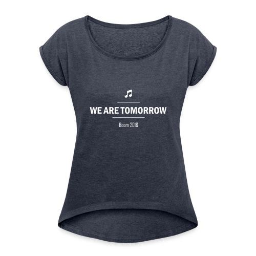 We Are Tomorrow White - T-shirt à manches retroussées Femme
