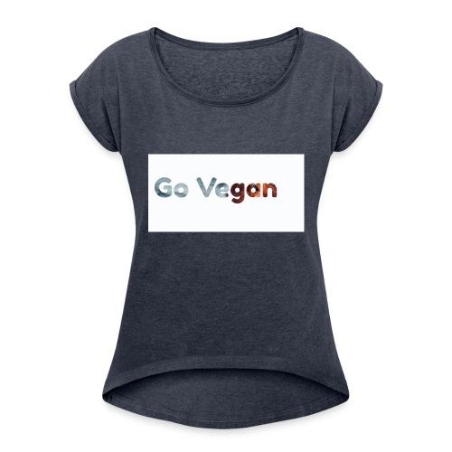 Go Vegan - motif Animal - T-shirt à manches retroussées Femme